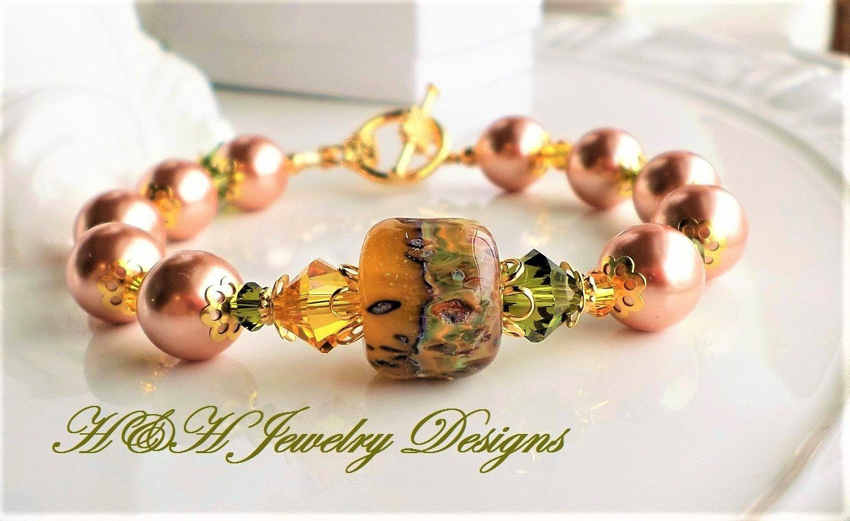 Lampwork Bracelet Yellow and Green with Rose Gold Pearls