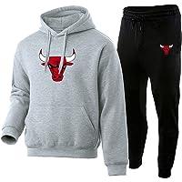 PKIMKM Bulls Trainingspak voor heren, met capuchon, sportbroek, broek, joggingbroek, gymbroek, joggingbroek, geschikt…
