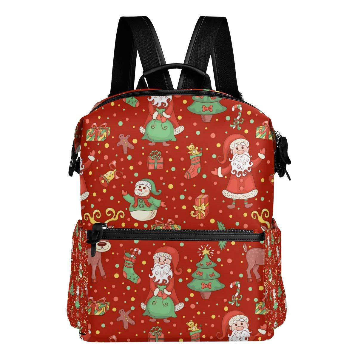 FAJRO - Zaino da viaggio con motivo natalizio, colore  rosso