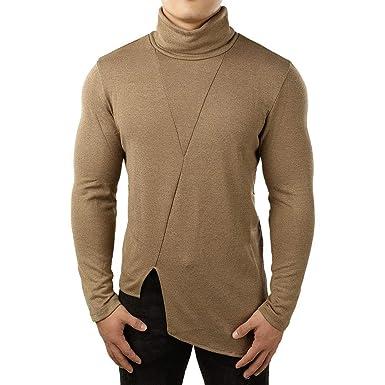 Camiseta Deportiva para Hombre,BBestseller Casual Primavera Hombre Cuello Alto Irregular Camisa de Manga Larga Pullover Tops: Amazon.es: Ropa y accesorios