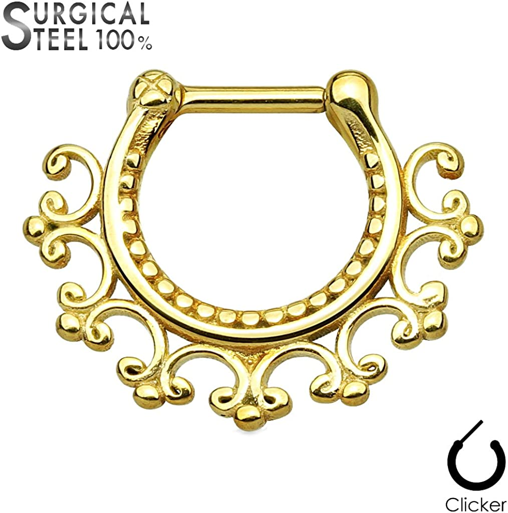 316L Surgical Steel Twisted Rope Gold Ion Plated Round Septum Ring Clicker