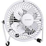 Glamouric Mini Metal Table Fan Small USB Quiet Portable Desk Fan High Compatibility White - For Home, Office