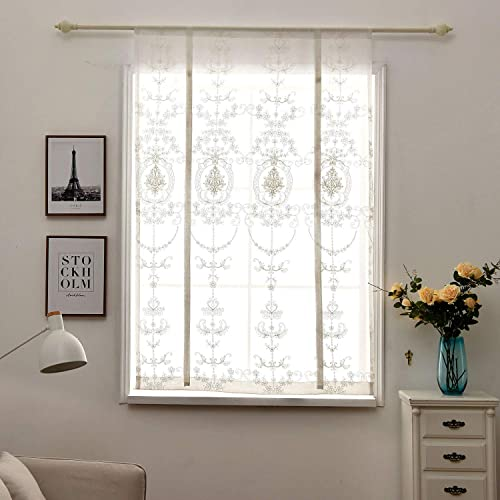 Tie Up Shades Beige Embroidery Curtain Panels Semi Sheer Voile Window Treatments Tie Up Shades Balloon Short Drapes Valance European Style for Small Kitchen Bedroom, Living Room Windows, 32×55 Inch