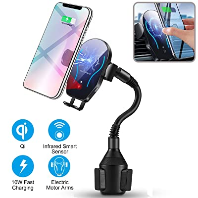 Wireless Car Charger-Cup Holder Phone Mount,Automatic Infrared Smart Sensor Clamping Qi 10W 7.5W Fast Universal Adjustable Cell Phone Wireless Charging Air Vent Cradle: Home Audio & Theater