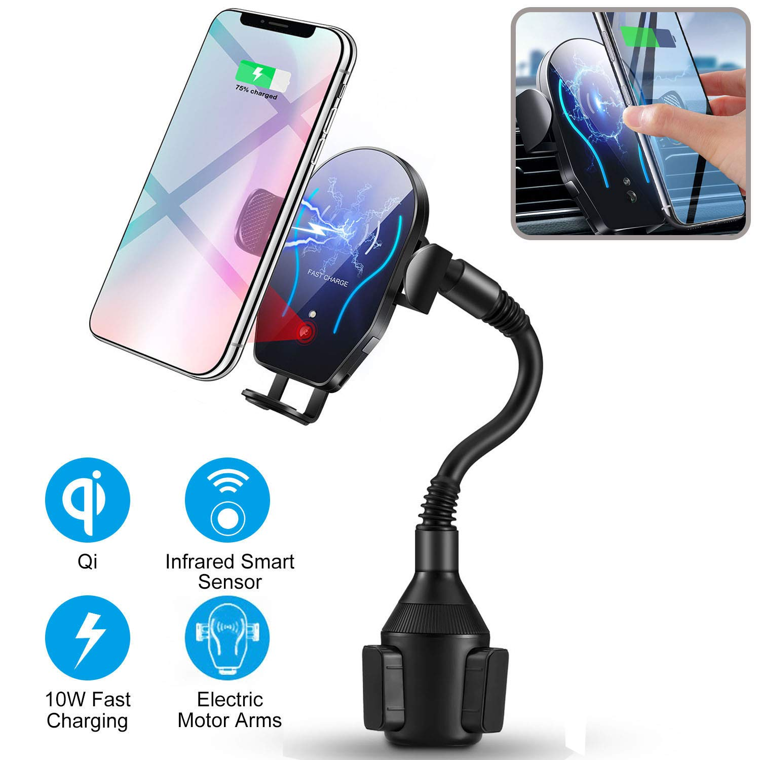 Flow.month Wireless Car Charger-Cup Phone Holder Mount,Automatic Infrared Smart Sensor Clamping Qi 10W 7.5W Fast Universal Adjustable Cell Phone Wireless Charging Air Vent Cradle by Flow.month