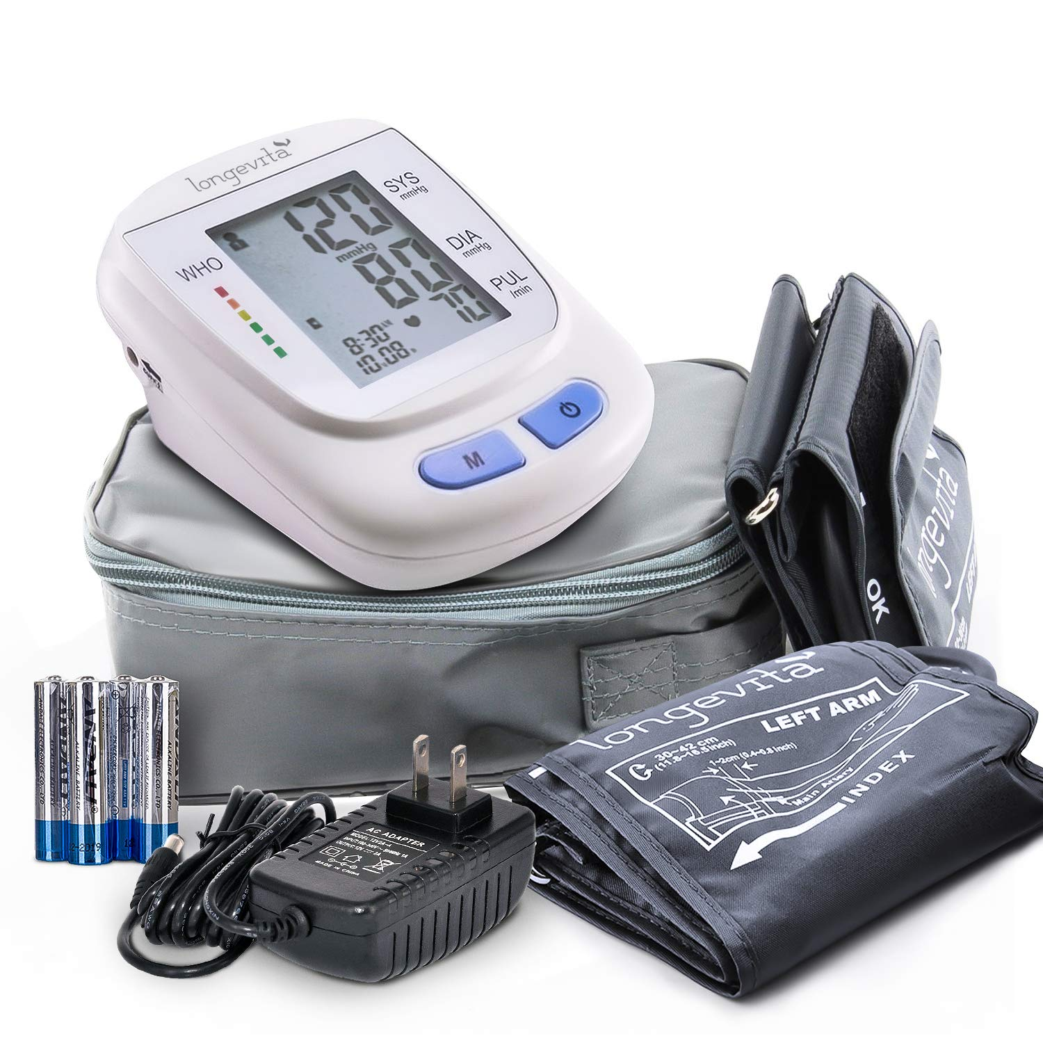 Automatic Portable Digital Upper Arm Blood Pressure Monitor with Pressure Cuff – Longevita BP-103