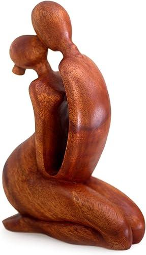 NOVICA Brown Romantic Suar Wood Sculpture, 11 Tall The Kiss I
