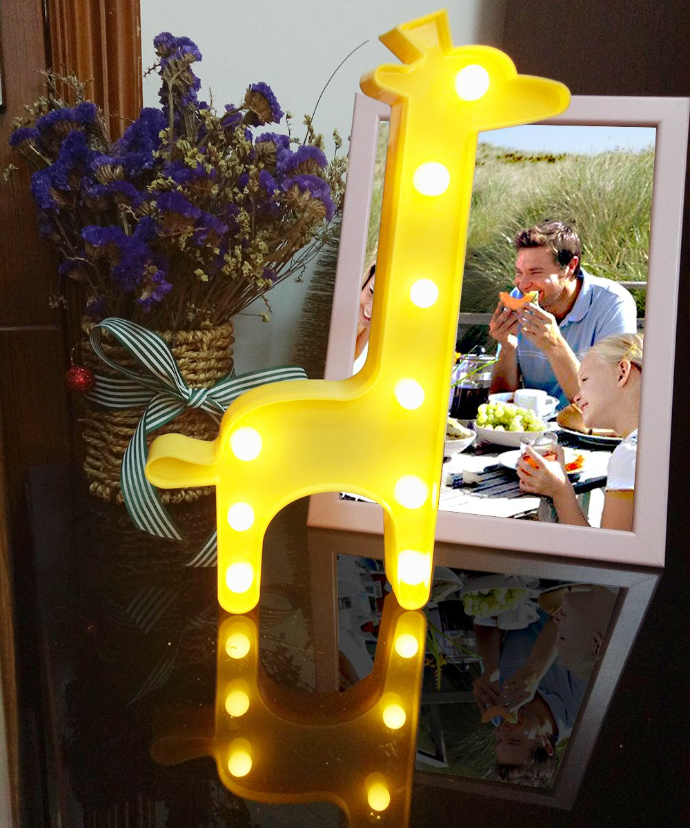 3D Giraffe Marquee Light, Lighted Marquee Sign Lamp for Home, Restaurant, Hotel, Coffee Shop, Birthday and Romance Gift, Cute Decoration(Yellow, Battery Operated)