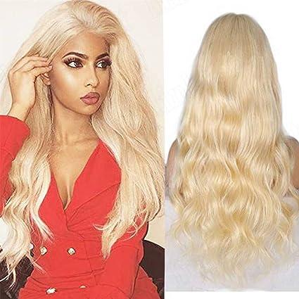 7 A brasileño Virgen Pelo Humano Frente Encaje Peluca Color # 613 rubio peluca tablón con