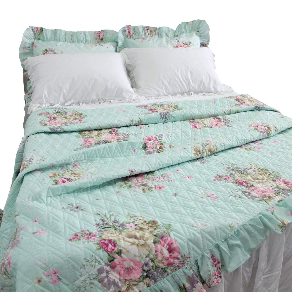 Queen's House Shabby Quilted Comforter King Coverlet Quilt Blanket, 1 Piece