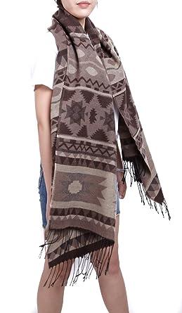 bceecf42878 Subke écharpe hiver femme foulard grande taille châle cache-col franges  beige