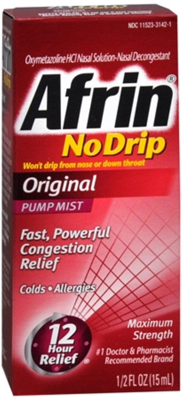 Afrin No Drip Original Nasal Decongestant Pump Mist 15 mL (Pack of 7)