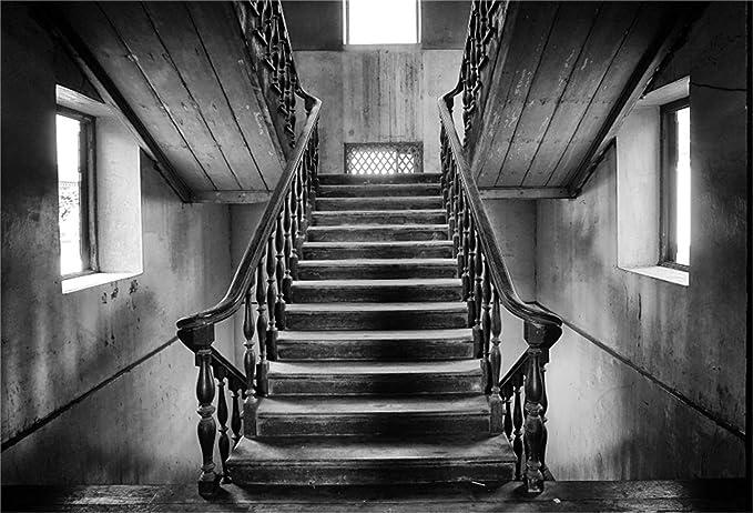 EdCott 10x7ft Fondo casa embrujada sombría Escalera Grunge Escalera Madera Vieja Fotografía Telón Fondo Terror Escalera Miedo Vampiro Fantasma Halloween Monstruo Malvado Photo Studio Props Banner: Amazon.es: Electrónica