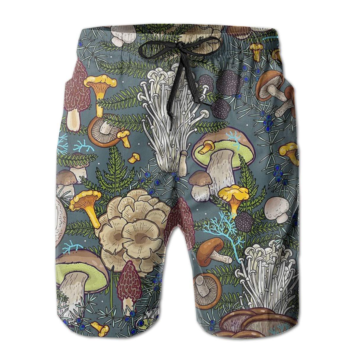 AA WIU Mushroom World Mens Funky Quick Dry Swim Trunk Drawstring Beach Board Shorts Swimsuit