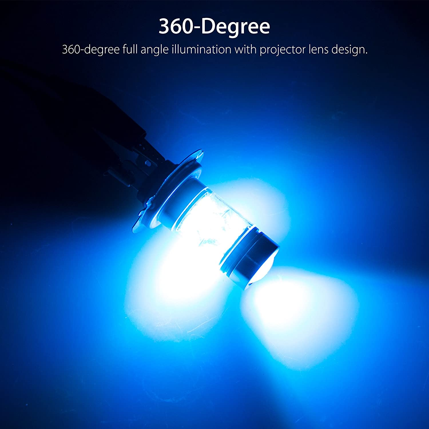 Ice Blue 60W Daytime Running Bulbs for Fog Light Lamps Replacement 9006 HB4 LED Fog Light Bulbs LinkStyle 2 Pack 8000K High Power LED Fog driving Light Replacement Bulbs