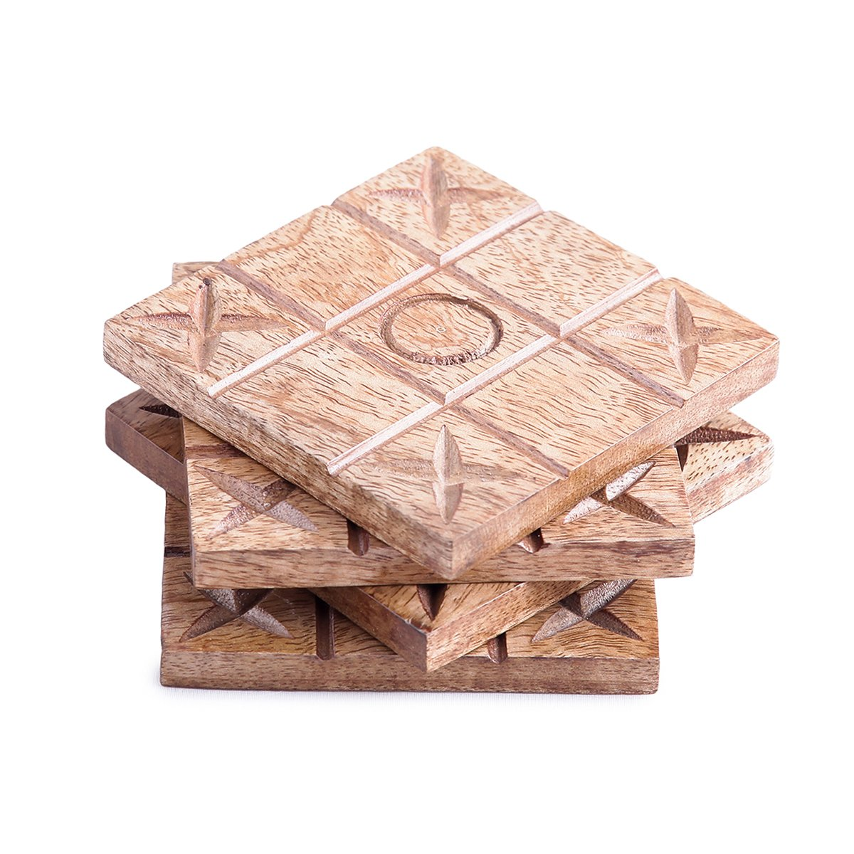 The Royal Collection Handmade Wood Coasters Naughts & Crosses Design Set of 4 With Coaster Holder