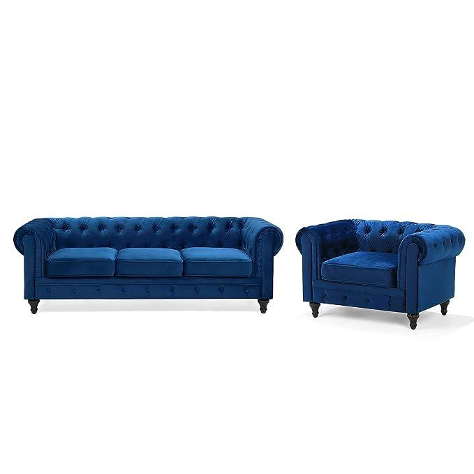 Beliani Conjunto de sofás tapizados 4 plazas Azul Cobalto ...