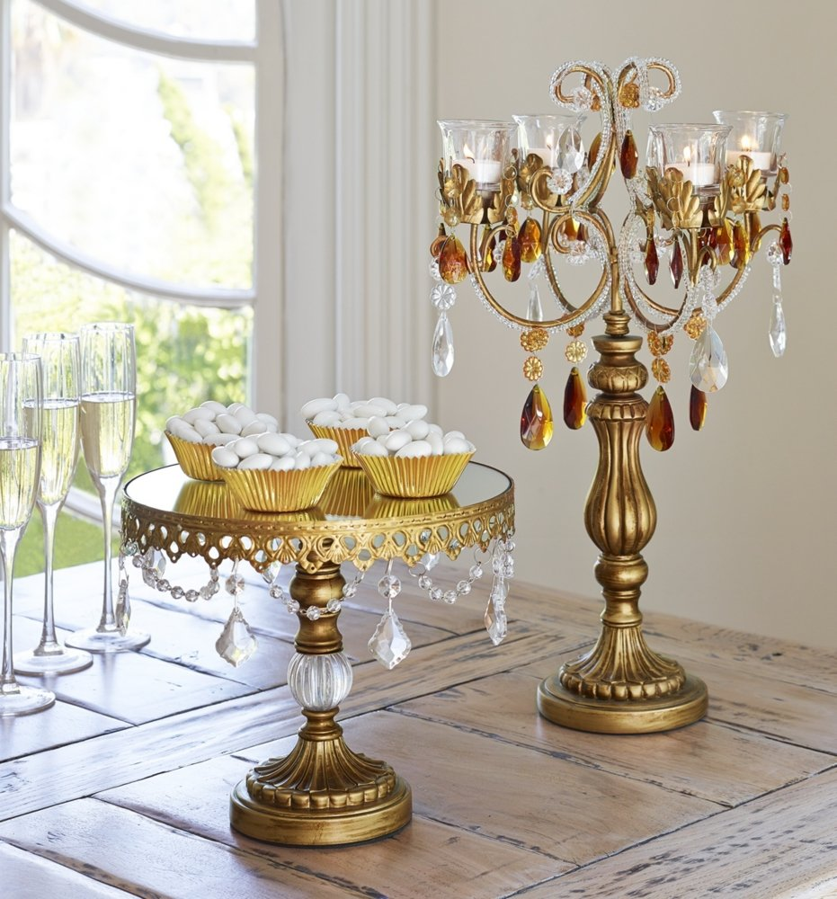 Amazon.com | Dahlia Studios Antique Gold Crystal Mirror Top 8 1/2x10 Round Cake Stand Home Decor Accents Cake Stands & Amazon.com | Dahlia Studios Antique Gold Crystal Mirror Top 8 1/2x10 ...