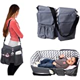 Premium PeelCo Le Petit 3 In 1 Baby Care Bag - Travel Bed, Diaper Bag, Changing Station, Portable Crib with Storage Compartments for All Your Baby Essentials, Chevron Print