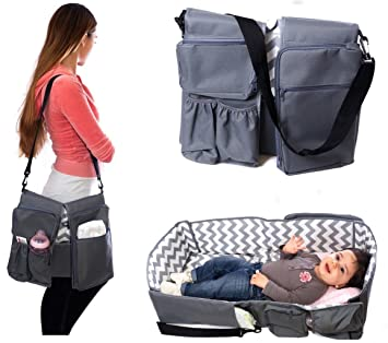 peelco le petit 3 in 1 baby care bag travel bed diaper bag