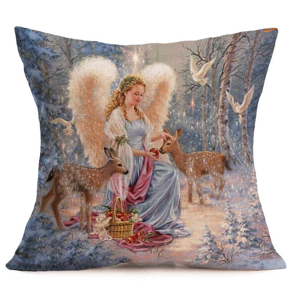 OWMEOT Merry Christmas Bell Cotton Linen Throw Pillow Case Cushion Cover Home Sofa Decorative 18 X 18 Inch (D)