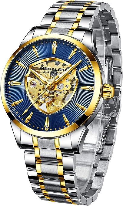 MEGALITH Relojes Hombre Relojes de Pulsera Militar Esqueleto ...