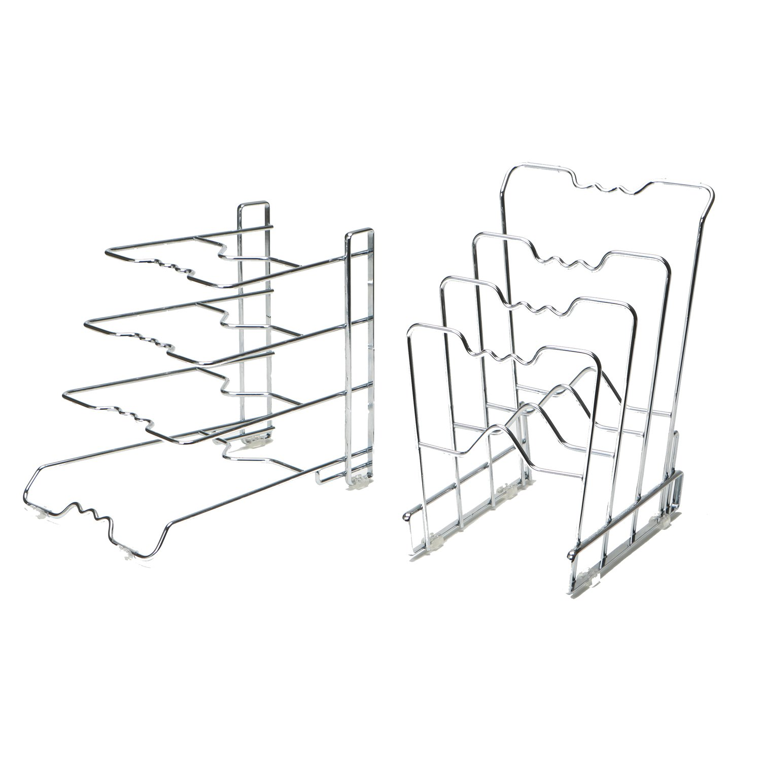Seville Classics 4-Tier Pan Organizer Rack, Chrome (2-Pack) SHE14108