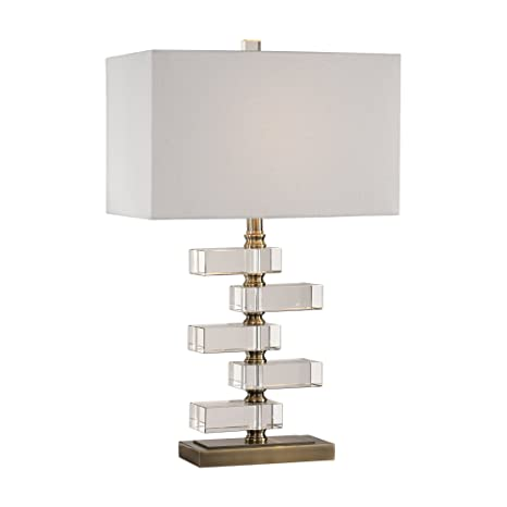 Amazon Com Luxe Contemporary Stacked Geometric Crystal Table Lamp