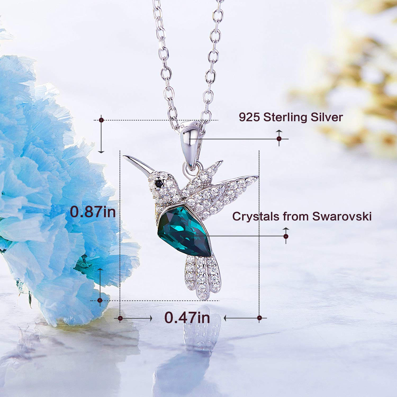 CDE S925 Sterling Silver Necklace Woman Swarovski Crystals Pendant Necklaces Hummingbird Fine Jewelry Gift for Her by CDE (Image #6)