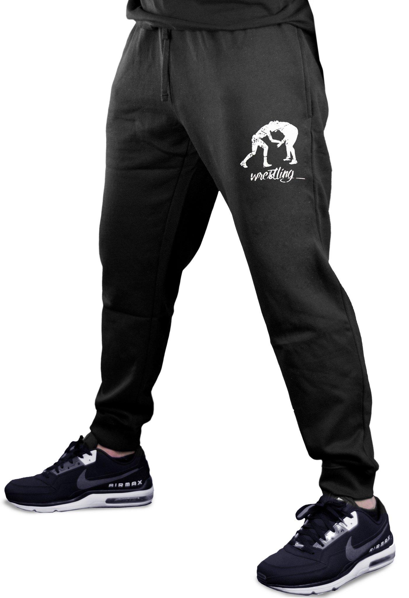 Men's MMA Wrestling Emblem Black Fleece Gym Jogger Sweatpants Small Black