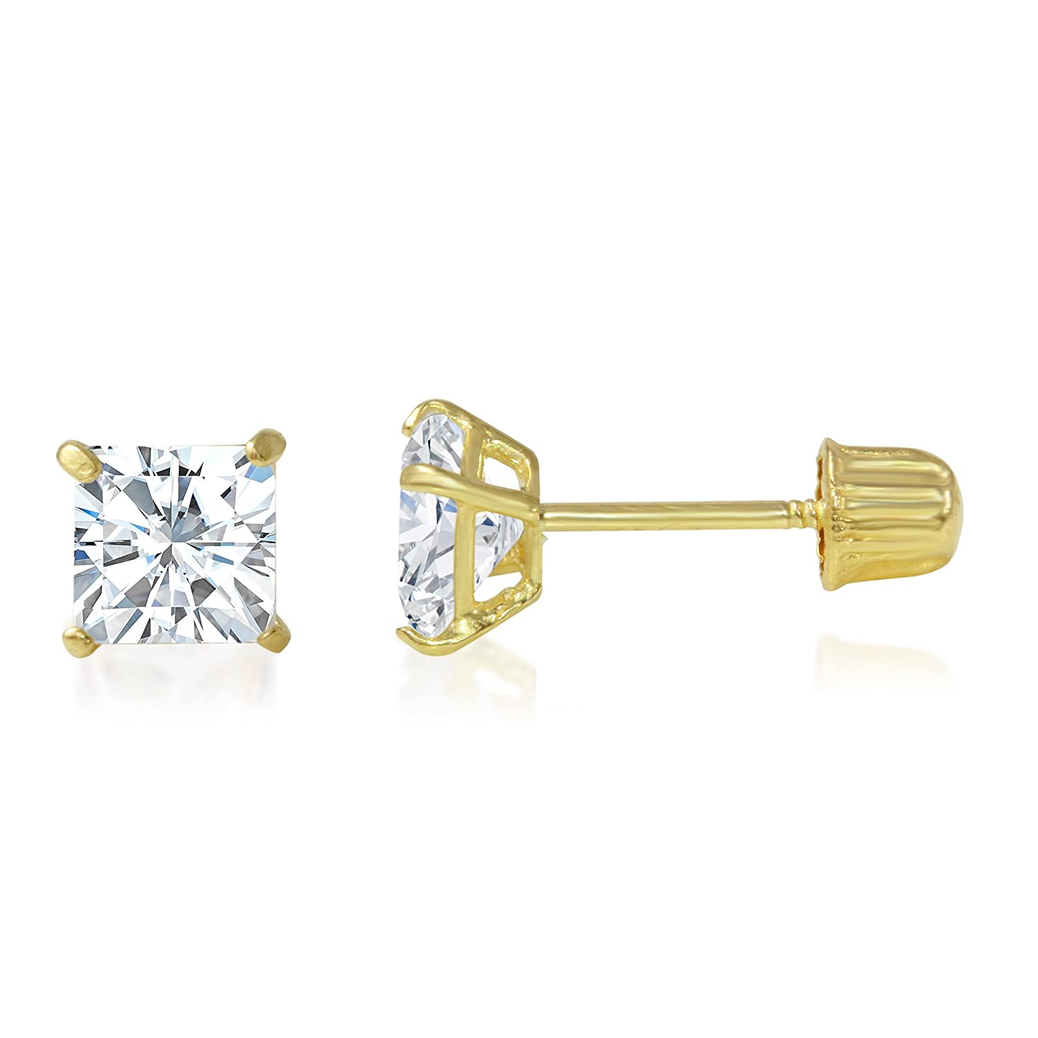 14K Yellow OR White Gold Square Solitaire Princess Cut Cubic Zirconia CZ Stud Screw Back Earrings in Various Sizes Ioka