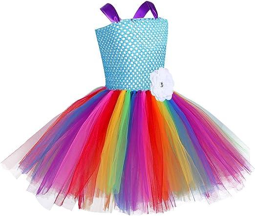 YiZYiF Vestido Tutú Princesa Disfraz Unicornio Niñas Arco Iris con ...