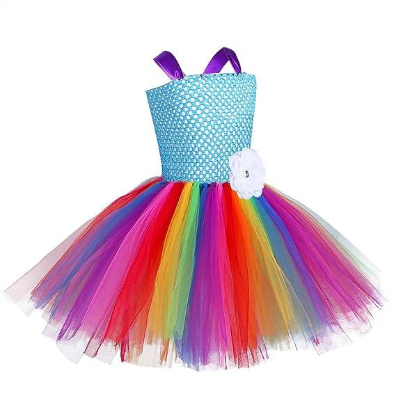 YiZYiF Vestido Tutú Princesa Disfraz Unicornio Niñas Arco ...
