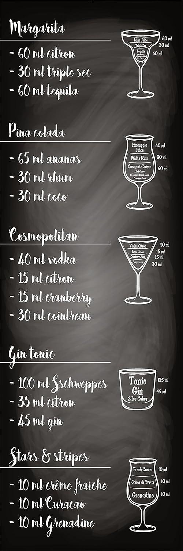 PLAGE Cocktail Adesivo per la Cucina, Vinile, Nero, 60x 3x 180cm 162277