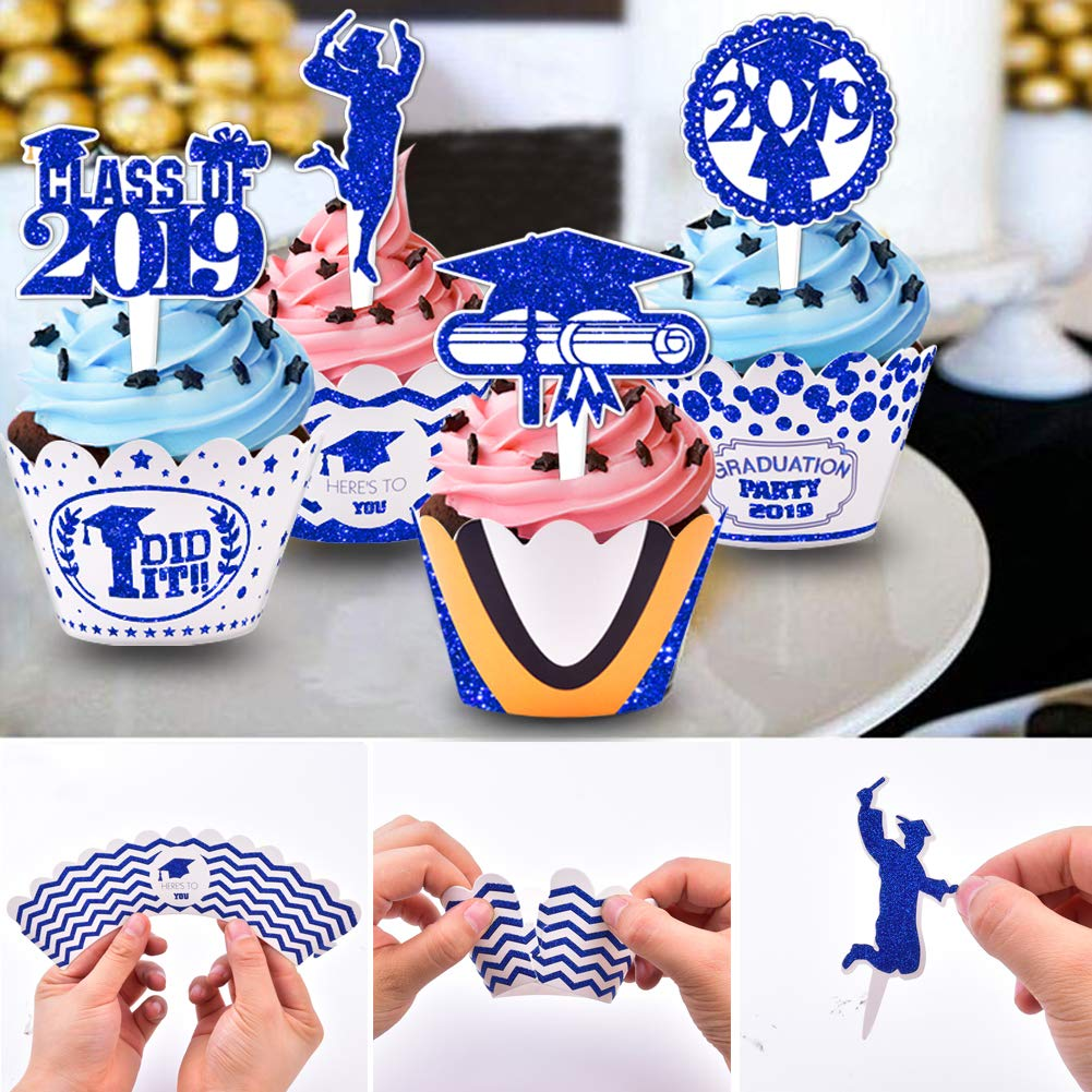 2019 Graduation Cupcake Wrappers and Toppers -Graduation Party Decoration,32 Piece Glitter Blue Cupcake Toppers For Class Of 2019 Congrats Grad Party Birthday Party Supplies Favor by Threemart (Image #4)