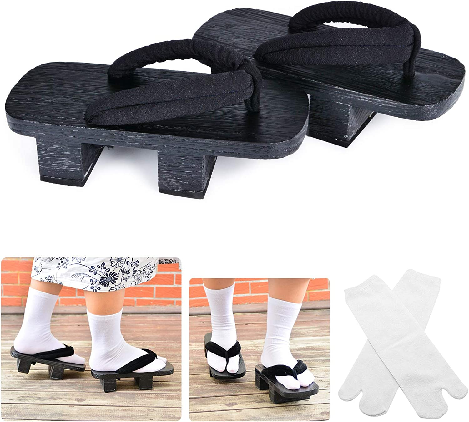 Japanese Wooden Clogs Sandals Japan Traditional Shoes Geta with Tabi Socks