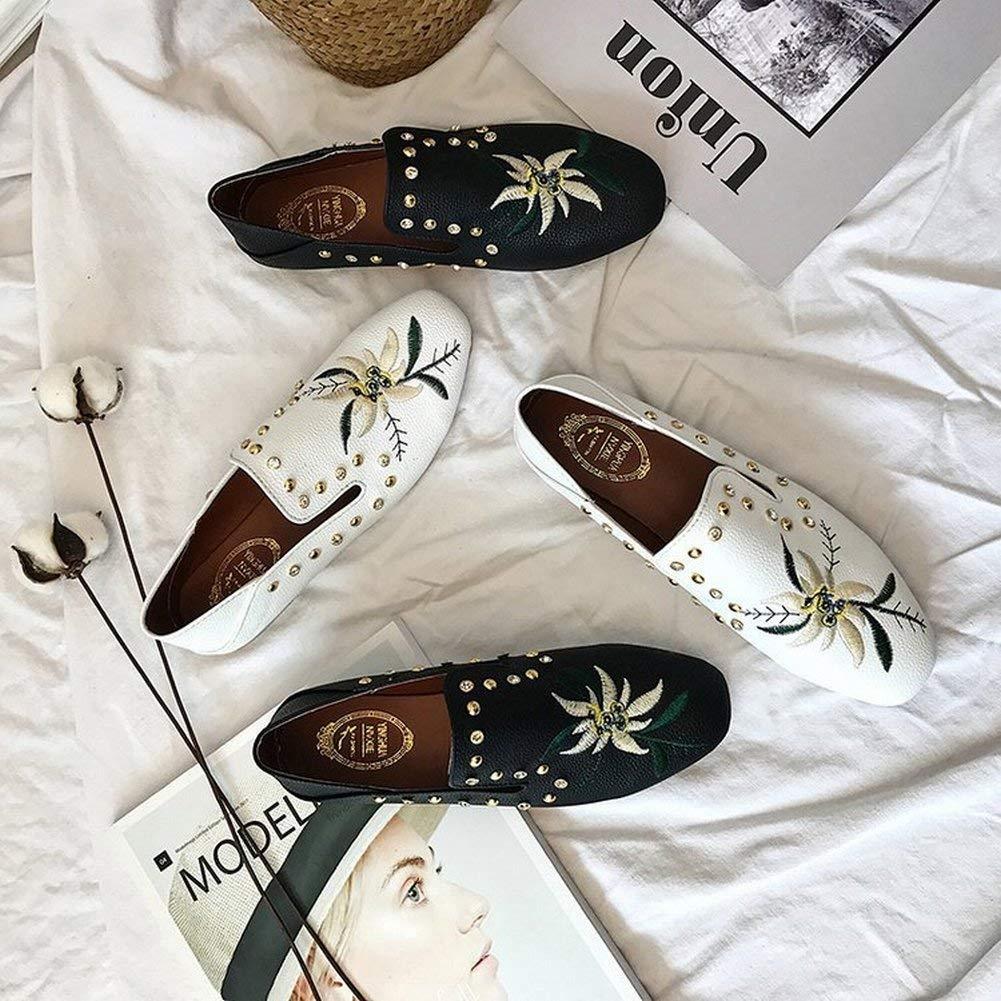 Fuxitoggo Flache Flache Pantoffel des Studenten Baotou Stickerei Rhinestones Zwei Zwei Zwei Tragen Mode Persönlichkeit Allgleiches Schuhe (Farbe   Schwarz Größe   39) 265c75