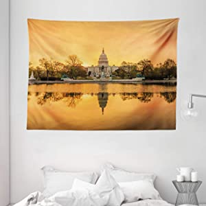 """Ambesonne United States Tapestry, Washington DC American Capital City White House Above The Lake Landscape, Wide Wall Hanging for Bedroom Living Room Dorm, 80"""" X 60"""", Apricot Ginger"""