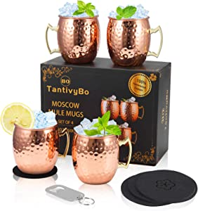 Moscow Mule Mugs, Set of 4 Copper Cups for Drinking, 18 oz Stainless Steel Lining Moscow Cocktail Cups , 100% Food Safe Authentic Handcrafted Copper Mugs for Home, Kitchen and Bar, by BAMSKAROSA