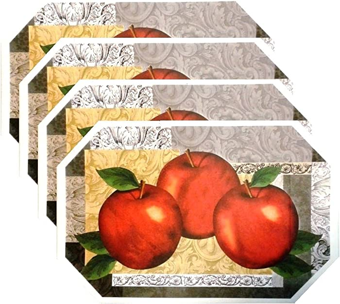 Pack of 4 Durable Design Placemat Set Deluxe Vinyl Latest Decoration Patterns Non-Slip Foam Ease Wipes Clean (Apples)