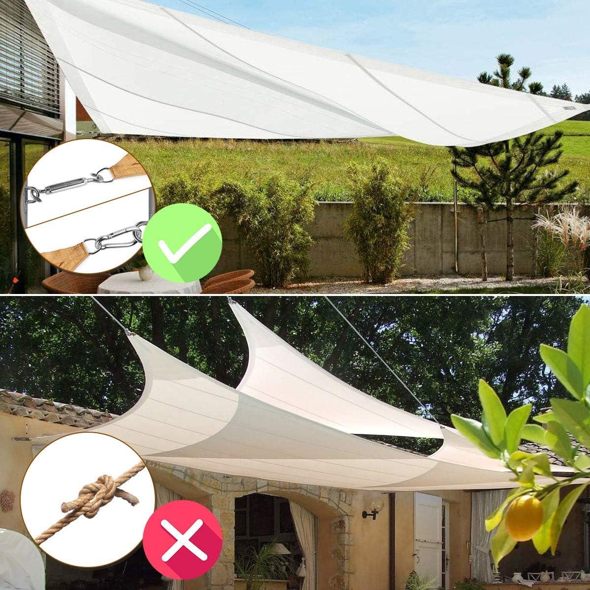 Acciaio Inossidabile Kit di Fissaggio NASUM Kit di Fissaggio per Vela Parasole Kit per Fissaggio a Vela per Triangolo e Rettangolo vela Parasole per linstallazione di Vele Ombreggianti da Giardino