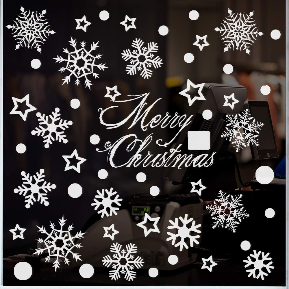 Kissdream 270 Piece Christmas Window Snowflake Cling Decals Stikcers Decorations For Holiday Celebration Merry Christmas Winter Wonderland Party Decorations Supplies