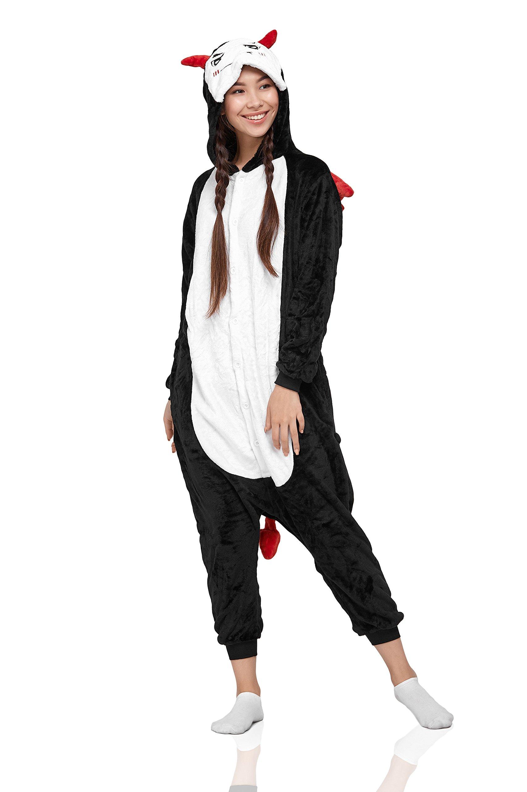 Nothing But Love Adult Devil Akuma Demon Kigurumi Onesie Pajamas PJ Plush Onsie One Piece Costume (Medium, Black)