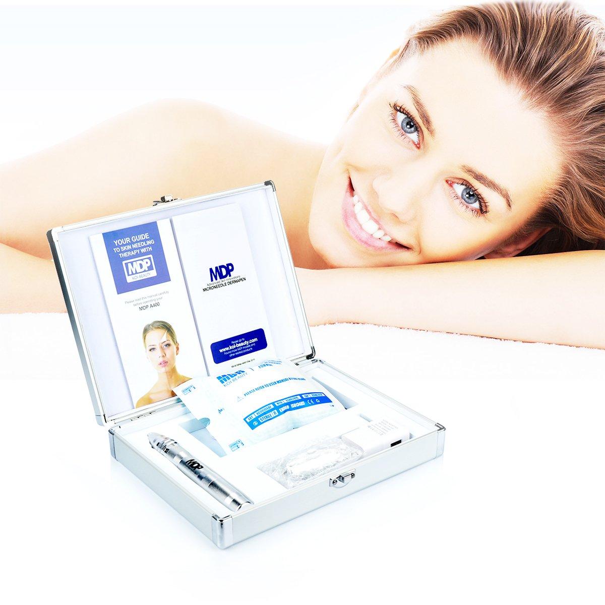 Dermapen Profesional Electrico Titanium Auto Stamp Cartuchos Arrugas Estrías Cicatriz de acne Perdida de cabello Inalámbrico Derma Pen 0.25-2.5mm para ...