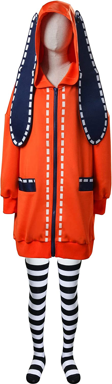 NUWIND Bambino Anime Cosplay Costume di Halloween Yomozuki Runa Coniglio Arancione Abiti da Ballo per Ragazza Compulsive Gambler Cappotto con Cappuccio e Calzini
