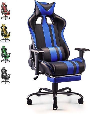 Soontrans Silla Gaming Ergonómico Silla Escritorio, con Reposapies, Altura Ajustable Reposabrazos (Azul): Amazon.es: Hogar