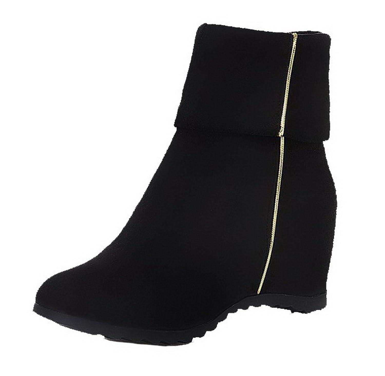 AgeeMi schuhe Damen Ziehen auf Rein Mitte-Spitze Hoher Absatz Rund Zehe Stiefel