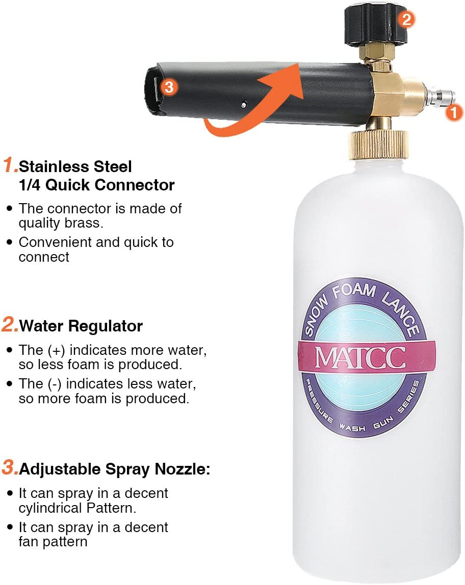 """Snow Foam Cannon Bottle Pressure Washer for 1//4/"""" Quick Connect White+Black"""