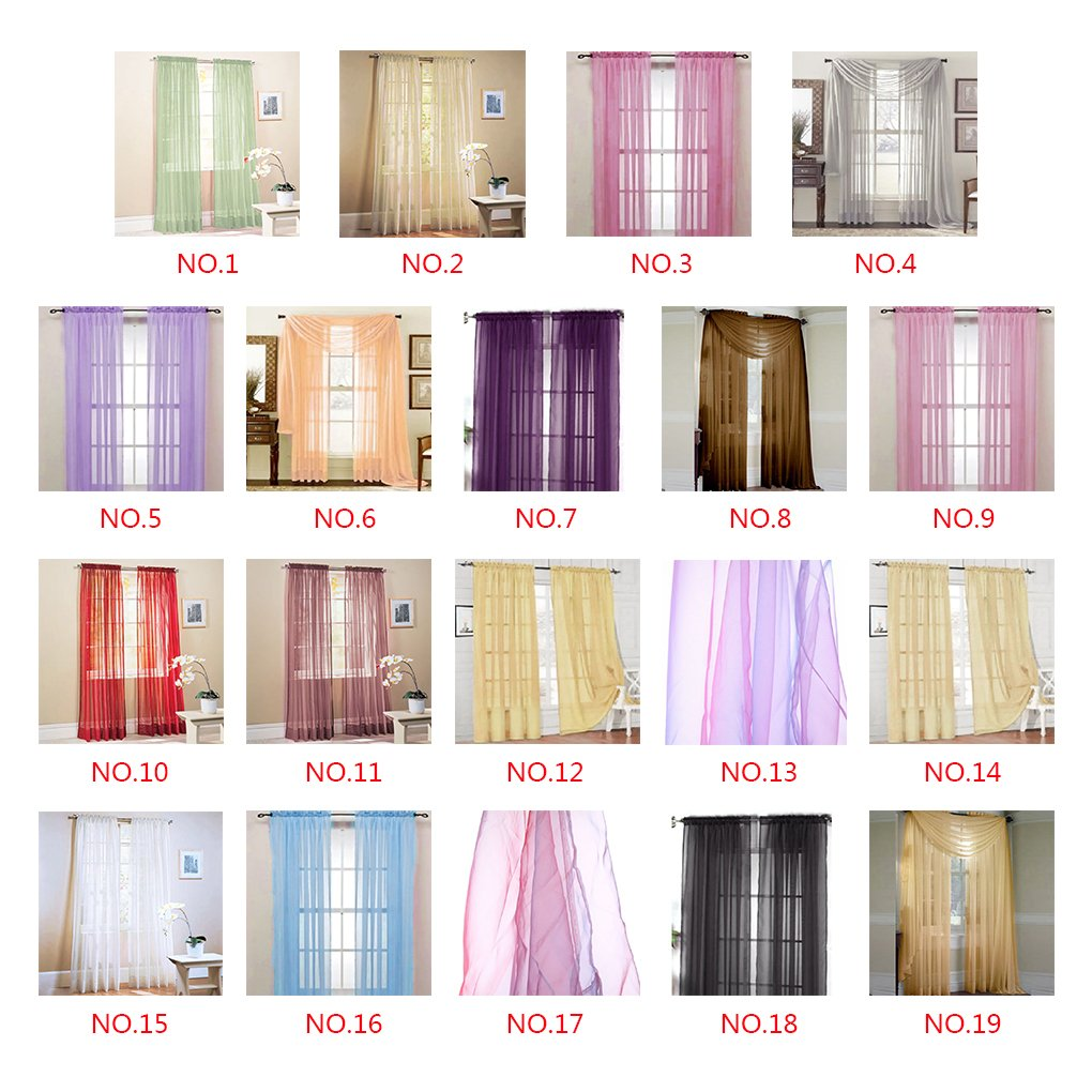 Befaith New Solid Color Voile Sheer Curtain Panel Window Curtains 100*200cm Black