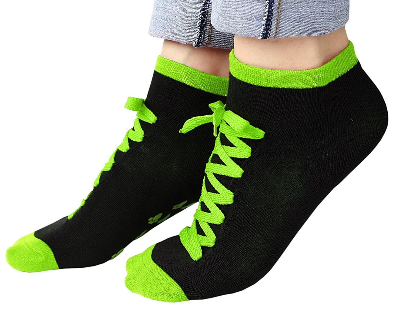 NYFASHION101 Paw Print Sole Non-Slip Shoelaced Slipper Socks Green